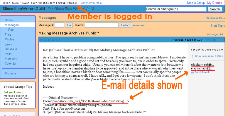 How Email Addresses Appear to Logged-in Yahoo! Users