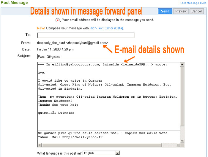 How Email Addresses Appear When Forwarding an Archived Message