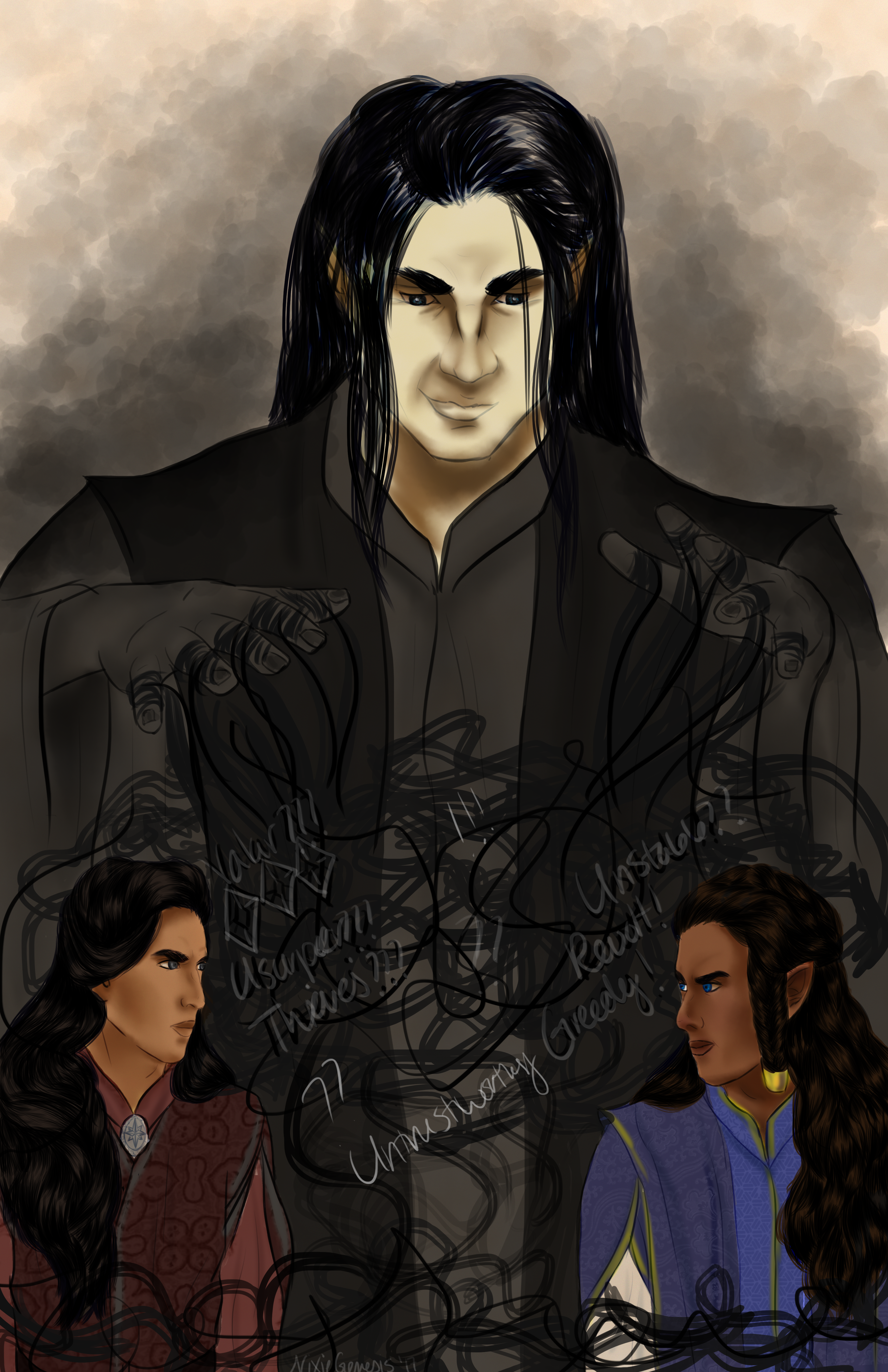 Melkor stirs strife among the Noldor, artwork by Nixie Genesis